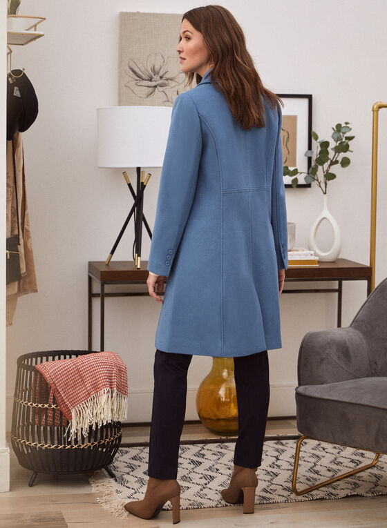 Stretch Faux Wool Structured Coat, Blue