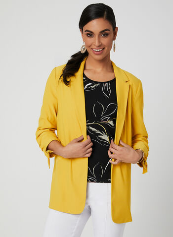 ¾ Sleeve Notch Collar Blazer, Yellow, hi-res