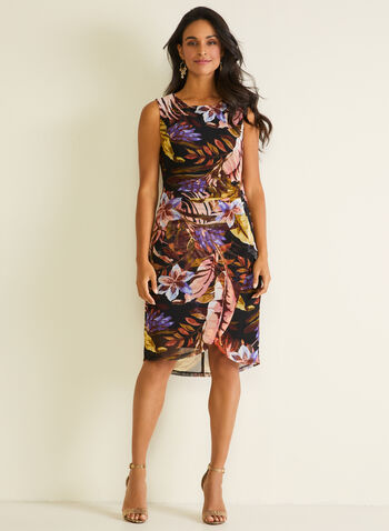 Foliage Print Mesh Dress, Purple,  day dress, tropical, sleeveless, chiffon, pleated, spring summer 2020