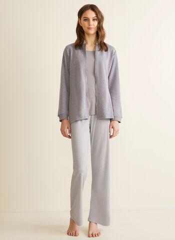 Claudel Lingerie - Three-Piece Sleepwear Set, Grey,  set, ensemble, three-piece, robe, tank top, geometric, stretchy, pull-on, zip-up, spring summer 2020