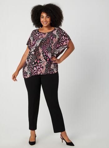 Short Sleeve Crepe Blouse, Purple, hi-res,  short sleeves, blouse, crepe, leopard print, fall 2019, winter 2019
