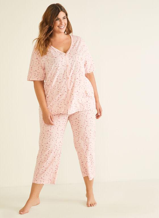 Pyjama 2 pièces motif floral, Rose