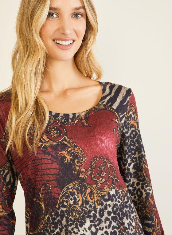 Vex - T-shirt animalier à manches longues, Rouge