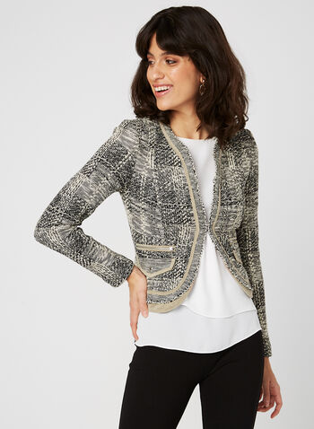 Vex - Cropped Tweed Jacket, Brown, hi-res