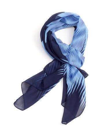 Zig Zag Print Oblong Scarf, Blue, hi-res