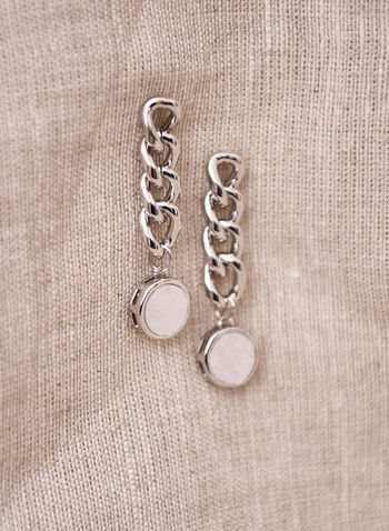 Tiered Pearl Detail Earrings, White,  spring summer 2021, accessory, accessories, earrings, dangle, tiered, chain link, beaded, pearl