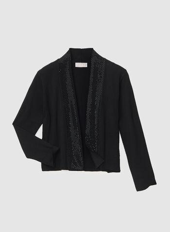 Boléro en tricot à manches ¾ et strass, Noir, hi-res