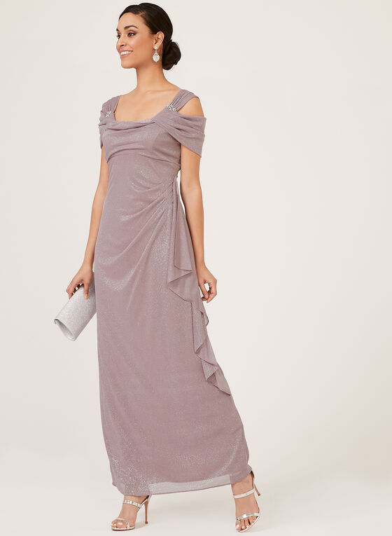 Draped Cold Shoulder Glitter Gown, Purple, hi-res