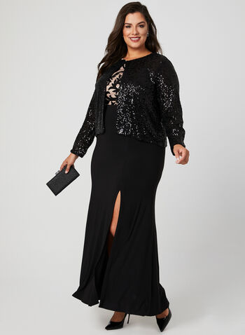 Long Sleeve Sequin Bolero , Black, hi-res