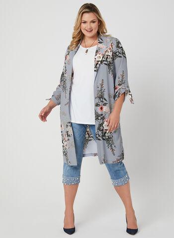 Veste longue à motif floral, Gris, hi-res,  printemps 2019, manches ¾, lien à nouer, nœud, crêpe, revers