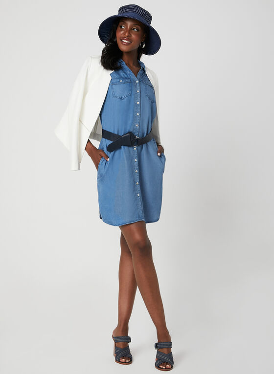 Robe sans manches aspect denim, Bleu, hi-res