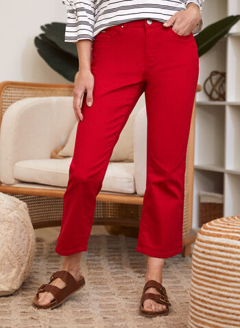 Flare Leg Denim Pants, Red,  spring summer 2021, made in canada, jeans, pants, denim, mid rise, flare leg, wide leg, button, zipper, pockets, stretchy, cotton, belt loops