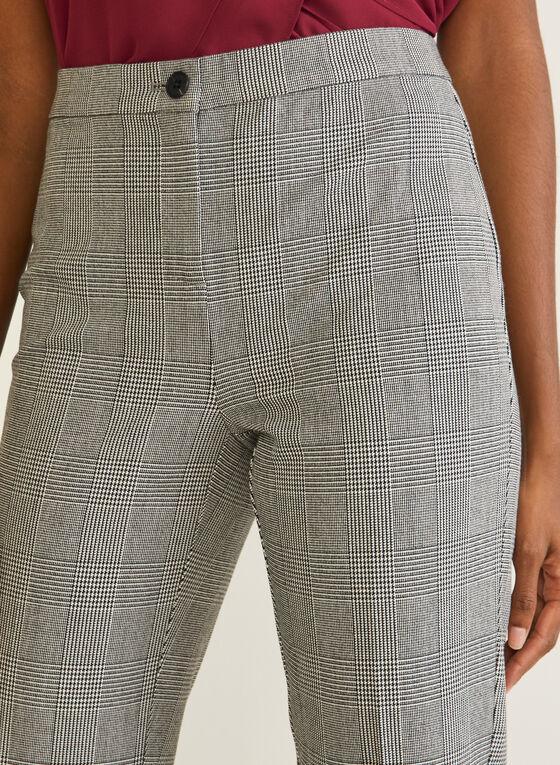 Tartan Print Straight Leg Pants, Black