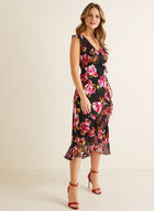 Floral Print Ruffle Dress, Black