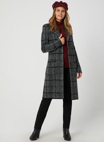 Cardigan boutonné à carreaux, Noir, hi-res,  automne hiver 2019, tricot, manteau, manteau pull, carreauté, carreaux, boutons, col tailleur, col cranté, manches longues, poches, chiné, motif, imprimé