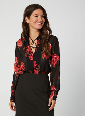 Floral Print Chiffon Blouse, Black, hi-res,  blouse, floral print, shirt collar, button down, chiffon, fall 2019, winter 2019