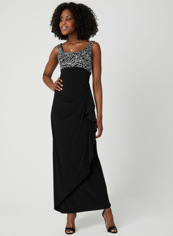 Metallic Dress & Bolero Set, Black, hi-res