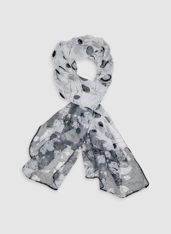 Foulard en mousseline à imprimé géométrique, Noir, hi-res