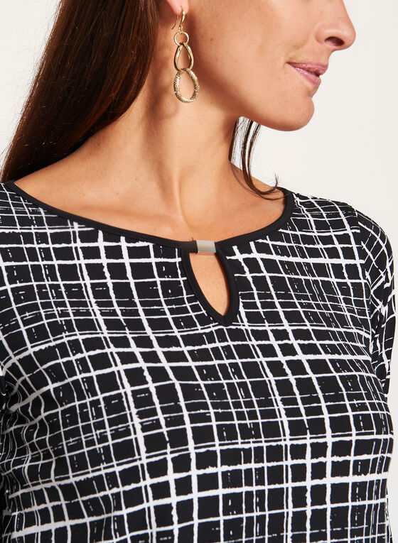 ¾ Sleeve Graphic Print Top, Black, hi-res