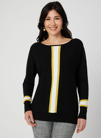Stripe Print Sweater, Black, hi-res,  3/4 sleeves, ¾ sleeves, dolman sleeves, textured, knit, fall 2019, winter 2019
