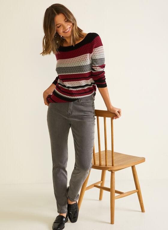 Pull à rayures en tricot texturé, Rouge