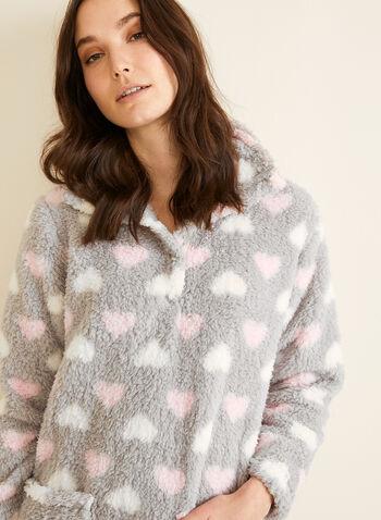 Karmilla Lingerie - Chemise de nuit en peluche, Gris,  pyjama, chemise de nuit, col montant, peluche, cœur, poches, boutons-pression, automne hiver 2019