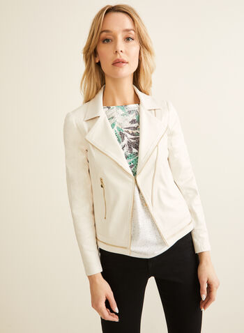 Vex - Zipper Detail Faux Leather Jacket, Off White,  jacket, faux leather, zipper, open front, spring summer 2020
