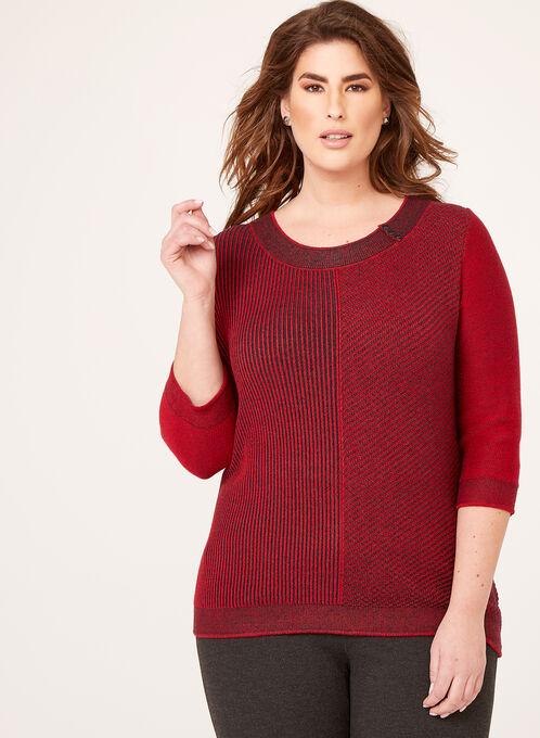 3/4 Sleeve Scoop Neck Sweater, Red, hi-res