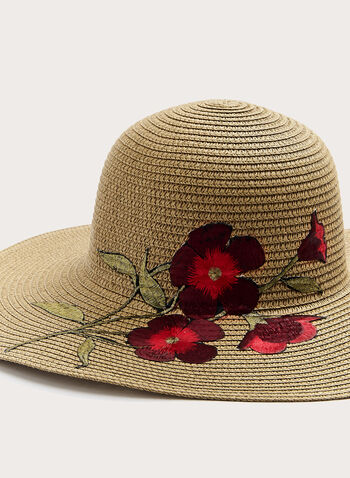 Straw Hat With Floral Embroidery, Off White, hi-res
