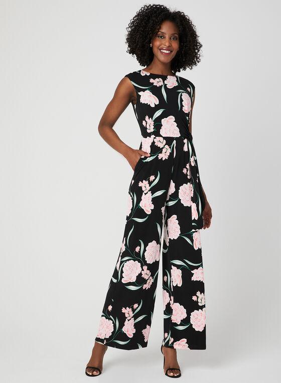 Combinaison à jambe large et imprimé floral, Noir, hi-res