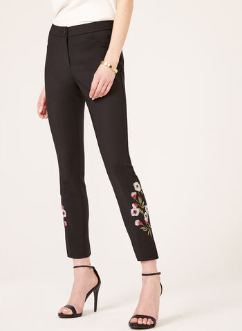 Modern Fit Straight Leg Ankle Pants, Black, hi-res