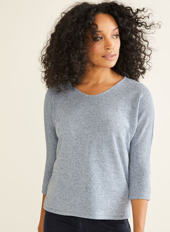 Dolman Sleeve Top, Blue,  Canada, top, 3/4 sleeves, dolman sleeves, fall 2019, winter 2019