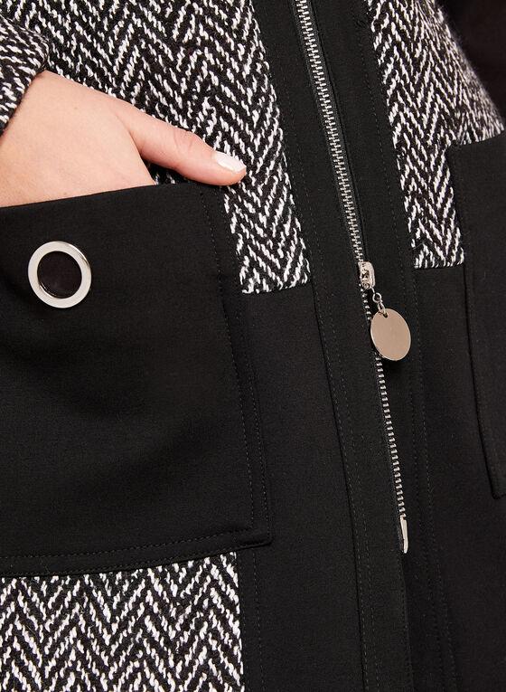 Veste zippée contrastante à motif chevrons, Noir, hi-res