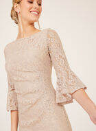 Jessica Howard - Glitter Lace Sheath Dress, Pink, hi-res