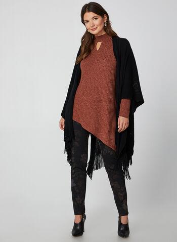 Tunique en tricot côtelé et épaules ajourées , Rouge, hi-res,  tunique, tricot côtelé, épaules ajourées, col montant, manches longues, automne hiver 2019