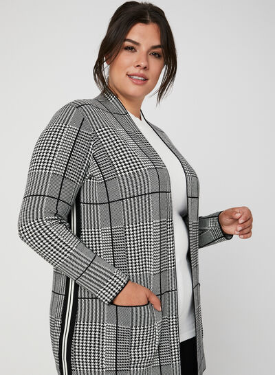 Houndstooth Open Front Cardigan