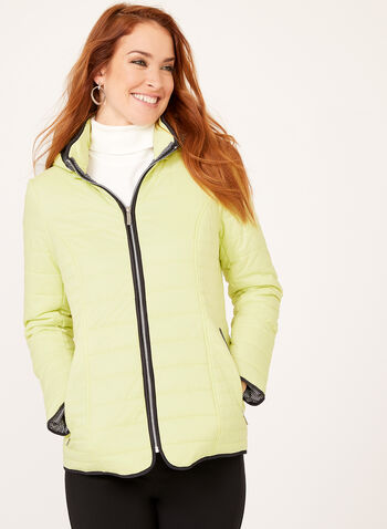 Hooded Lightweight Quilted Coat, Green, hi-res