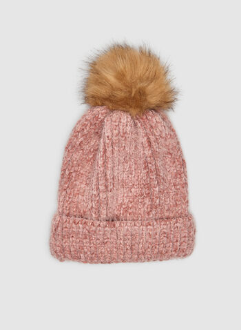 Yarn Tuque , Pink,  tuque, knit tuque, yarn tuque, yarn, faux fur, faux fur pompom, faux fur hat, fall 2019, winter 2019