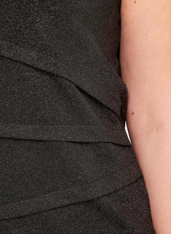 Haut brillant sans manches à effet plissé , Noir, hi-res