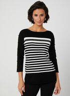 Stripe Print Sweater, Black