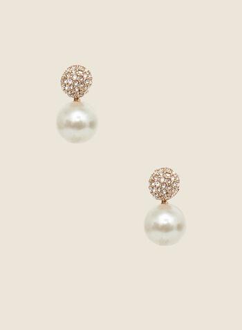 Pearl Pendant Earrings, Off White,  earrings, pendant, pearl, crystal, fall winter 2002