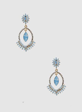 Boucles d'oreilles à pierres et cristaux, Bleu, hi-res