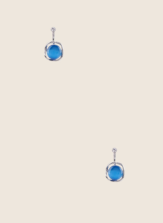 Round Stone Earrings, Blue