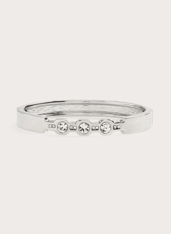 Bracelet rigide métallisé avec cristaux, Argent, hi-res