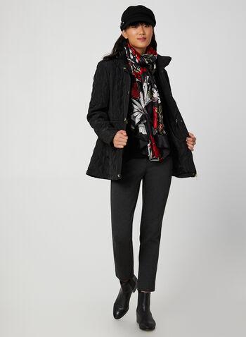 Manteau matelassé à capuchon, Noir, hi-res,  manteau, capuchon, col montant, manches longues, poches, matelassé, automne hiver 2019