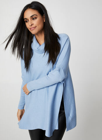 Knit Poncho Top, Blue,  knit, sweater, long sleeves, poncho, fall 2019, winter 2019