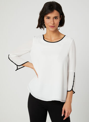 Crepe Popover Blouse, Off White, hi-res