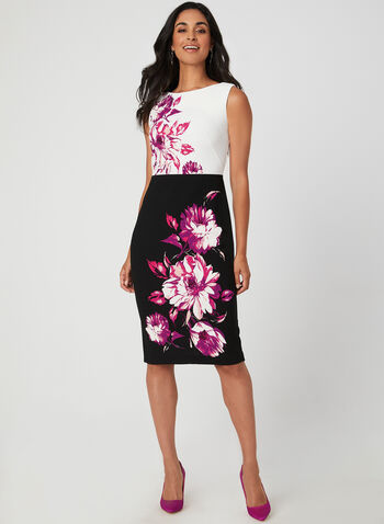 Floral Print Sheath Dress, Black, hi-res,  crepe, sheath, straight, sleeveless, fall 2019, winter 2019