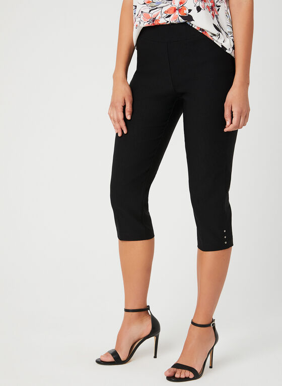 Straight Leg Capris, Black, hi-res