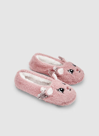 Reindeer Slippers, Pink, hi-res,  sleepwear, slippers, non-stick sole, fall 2019, winter 2019